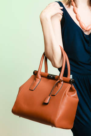 Elegant outfit. Stylish woman fashionable girl with brown leather handbag bag on green. Fashion and female beauty.