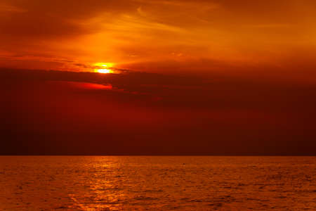 Beautiful seascape evening sea sunset horizon and sky. Tranquil scene. Natural composition of nature. Landscape. photo