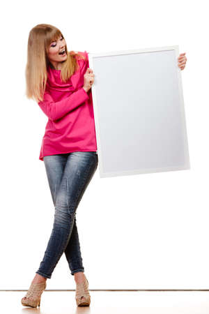 blank expression: Advertisement and fashion concept. woman emotional face expression full body with blank presentation board. Isolated