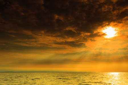 oceanscape: Beautiful seascape evening sea sunset horizon and sky. Tranquil scene. Natural composition of nature. Landscape. Stock Photo