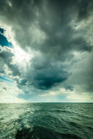 oceanscape: Beautiful seascape evening storm sea horizon and sky. Natural composition of nature. Landscape. Stock Photo