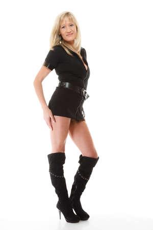 femme policier: Pleine longueur blonds policière femme flic posant isolé sur fond blanc Banque d'images