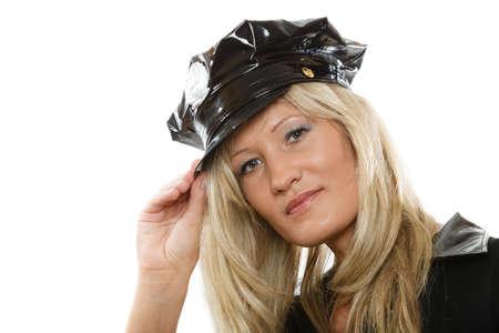 femme policier: blonds polici�re femme flic posant isol� sur fond blanc