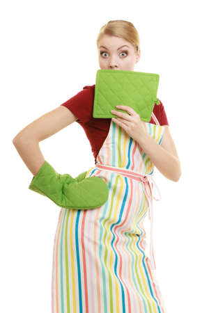 mouth cloth: Young housewife in kitchen apron surprised emotional face expression wide eyes, isolated on white background