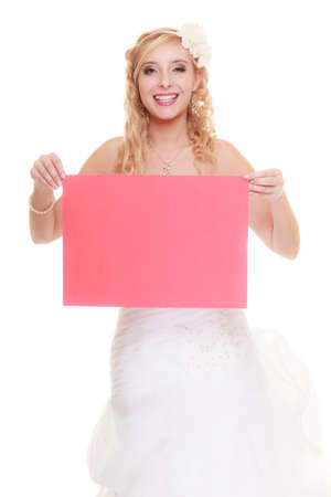 woman holding sign: Wedding day. Happy bride young woman holding sign red blank copy space for text isolated on white background
