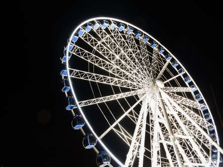 ferriswheel: Ferris observation wheel in Poland Gdansk Old Town, night view.