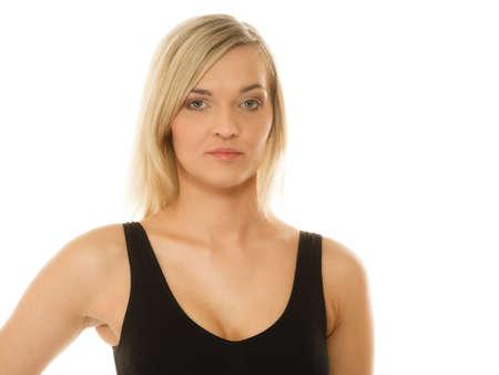 sportwear: Beautiful blonde girl in sportwear young woman portrait isolated on white.