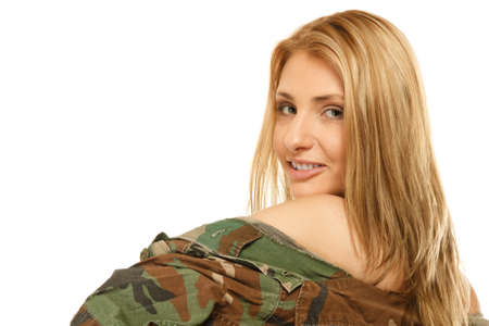 army girl: Beautiful sexy woman in military clothes fit army girl isolated on white