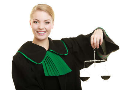 femida: Law court concept. Woman lawyer attorney wearing classic polish black green gown holds scales. Femida - symbol sign of justice. isolated on white