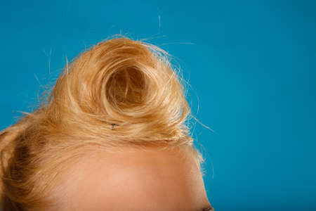 coiffure: Pin up and retro style coiffure. Blonde woman hairdo on blue background in studio.