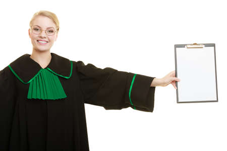 legality: Law court or justice concept. Young woman lawyer attorney wearing classic polish black green gown holding empty blank clipboard sign copy space for text. Isolated on white