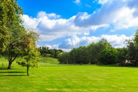자연 여름 풍경의 아름다움입니다. 영국에서 그린 필드의 시골보기 스톡 콘텐츠
