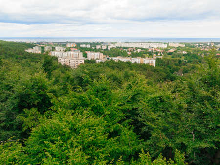 arial views: landscape. view from tower of sea and district gdansk danzig polish city suburb buildings houses exterior.
