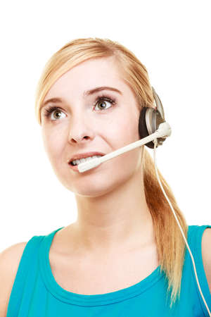 headset woman: Girl with headphones microphone. Customer service representative headset woman talking giving online help desk support isolated on white