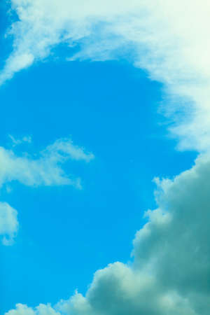 meteorology: Deep blue sky background with white clouds. Meteorology.
