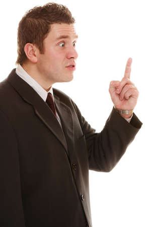 angry teacher: Angry mad businessman boss. Furious teacher man shaking finger in scolding way, isolated on white. Stress in work. Bad emotion.