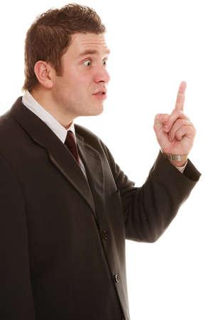 patron: Enojado loco empresario jefe. Señor profe Furious sacudiendo el dedo en forma de regaño, aislado en blanco. El estrés en el trabajo. Mala emoción.