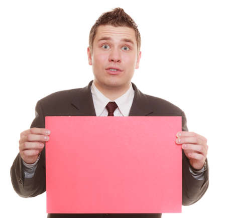 blank expression: Nerdy business man or goofy student guy holding sign red blank copy space for text. Funny facial expression. isolated on white background Stock Photo