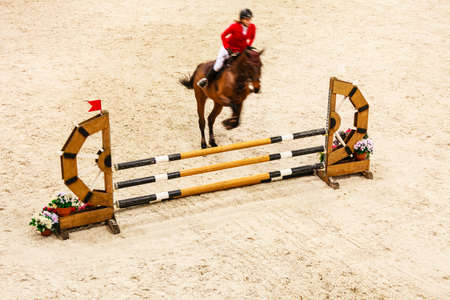 equine: Equitation. Riding competition. Show jumping, horse and rider jump over Stock Photo