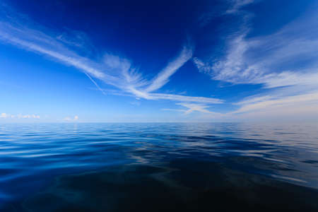 horizons: Beautiful seascape evening sea horizon and sky. Tranquil scene. Natural composition of nature. Landscape.