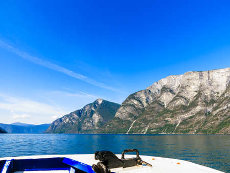 scandinavia: Tourism vacation and travel. Mountains and fjord Sognefjord in Norway, Scandinavia. View from boat