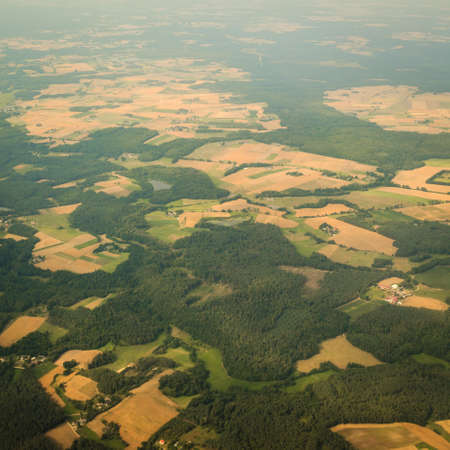 birds eye view: Birds eye. View from window of plane airplane flying over Poland Europe.