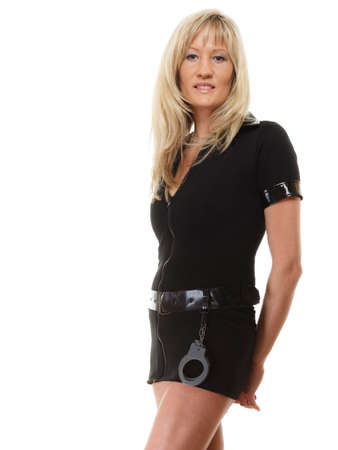 policewoman: blonde female policewoman cop posing isolated on white background