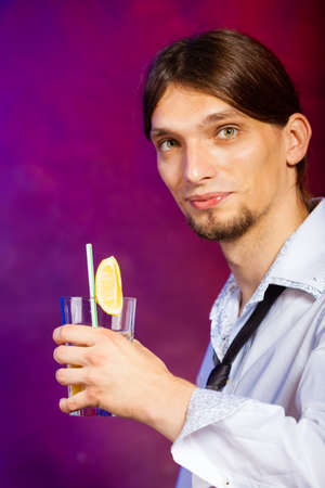 Young Stylish Man Bartender Preparing Serving Alcohol Cocktail Drink Photo