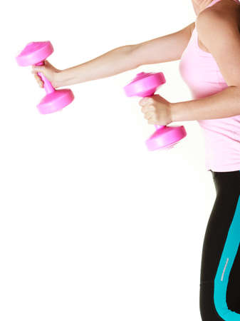 dumb bells: Fitness girl fit woman with dumbbells, doing exercise with dumb bells training with weights isolated on white background