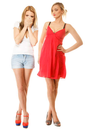 relationship difficulties: Full length two beautiful women in summer clothes girlfriends having relationship difficulties isolated on white.