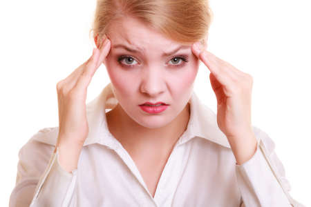 headache: Headache, migraine and stress. Worried businesswoman upset woman suffering from head pain isolated on white.