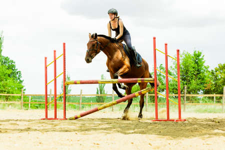 salto de valla: Active woman girl jockey training riding horse jumping over fence. Equestrian sport competition and activity.
