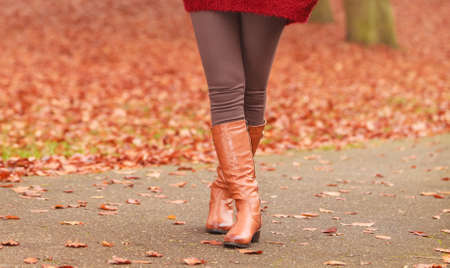 autumn in the park: Closeup of woman legs in brown boots. Girl in autumn park forest. Fall winter fashion. Stock Photo