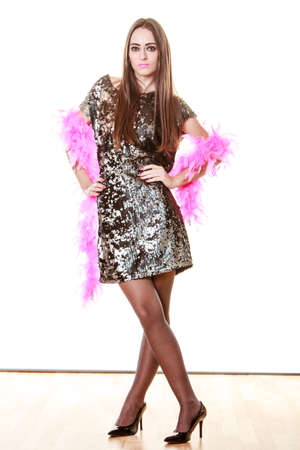 feather boa: Party new year celebration and carnival concept. Elegant woman in evening sequin dress pink feather boa isolated on white background.