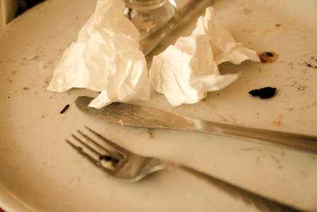 leftovers: Food leftovers. Dirty plate and cutlery after the meal is finished.