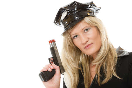 policewoman: blonde female policewoman cop posing with gun handgun isolated on white background