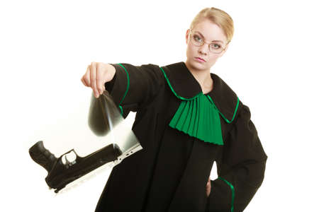 evidence bag: Law court or justice concept. Woman lawyer attorney wearing classic polish black green gown with weapon gun - bag marked evidence for crime. isolated on white
