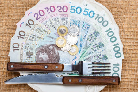 budget crisis: Cost of living, price of eating food budget concept. Polish money on kitchen table, plate with banknotes cutlery Stock Photo
