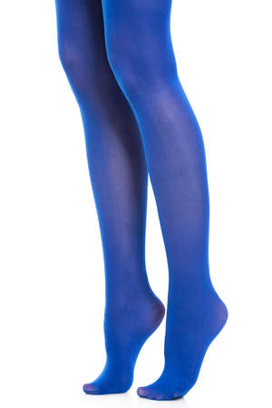 long stockings: Female fashion. Woman long legs and blue stockings isolated