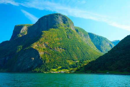 sognefjord: Tourism vacation and travel. Mountains and fjord Sognefjord in Norway, Scandinavia.