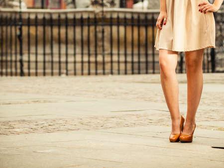 shoes: Street fashion. Urban lifestyle. Female legs in stylish elegant fashionable shoes boots outdoor Stock Photo