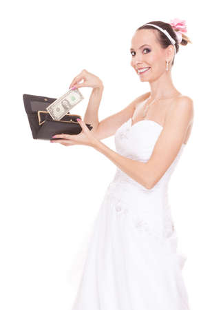 Happy bride with wallet and money. Smiling rich woman in wedding dress.