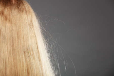 static: Closeup of woman girl with static blonde long hair.