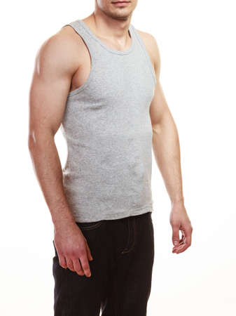 muscled: Muscled sporty fit man. Muscular guy isolated on white. Healthy lifestyle.
