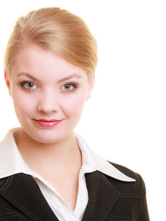 businesswoman suit: Business. Portrait of young attractive blond businesswoman in elegant suit isolated on white.