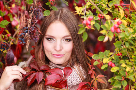 sexual pleasure: Fall lifestyle concept, harmony freedom. Beauty young woman fashion girl relaxing walking in autumnal park, outdoor