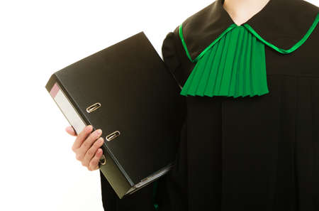 dossier: Law court or justice concept. Young woman lawyer attorney wearing classic polish black green gown with file folder or dossier isolated on white background