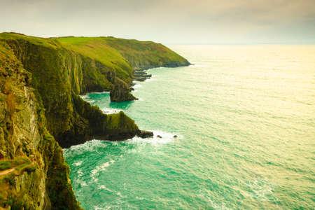 irish landscape: Irish landscape. Coastline atlantic ocean rocky coast scenery. County Cork, Ireland Europe. Beauty in nature.
