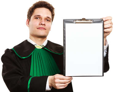 prosecutor: Barrister preapering defence. Man keeping clipboard with blank paper copy space for text. Isolated in white.
