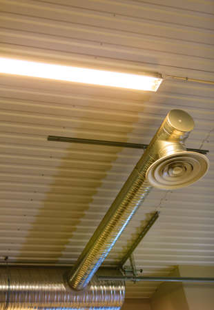 celling: electric lamps on celling indoor. Industry detail. Light power and energy.